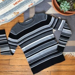 Vintage Ribbed Knit Striped Sweater